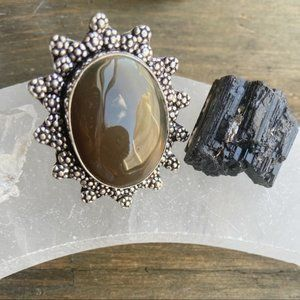BOTSWANA AGATE STERLING SILVER STATEMENT RING